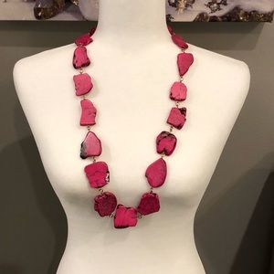 Jewelry - Long hot pink stone necklace